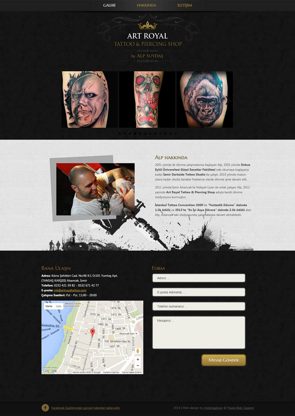 Art royal tattoo shop websitesi pixela zmir web tasar m for Tattoo nightmares shop website